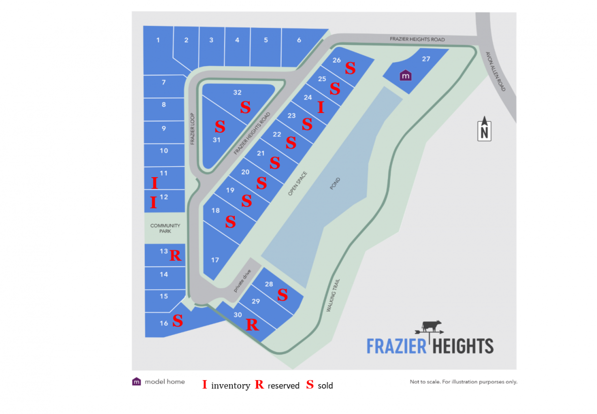 Frazier Heights availability as of 1.17.18