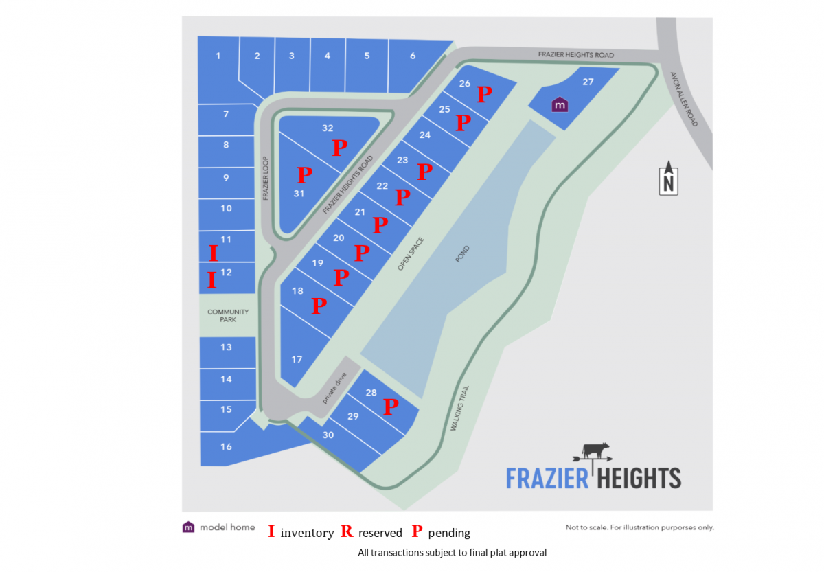 Frazier Heights availability as of 8.21.17